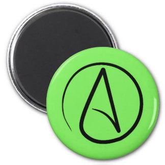 Atheist symbol: black on lime green magnet