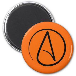 Atheist symbol: black on orange magnet