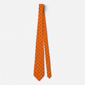 Atheist symbol: black on orange tie