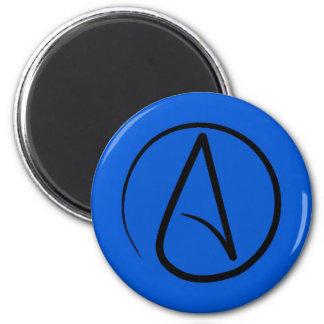 Atheist symbol: black on royal blue magnet