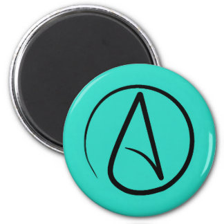 Atheist symbol: black on verdigris magnet