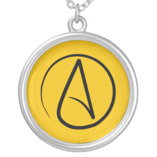 Atheist symbol: black on yellow silver plated necklace