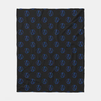Atheist symbol: blue on black fleece blanket
