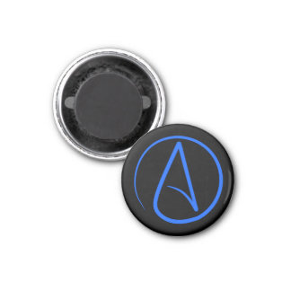 Atheist symbol: blue on black magnet