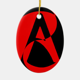 Atheist symbol ceramic ornament