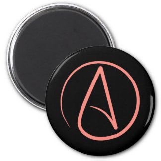 Atheist symbol: coral on black magnet