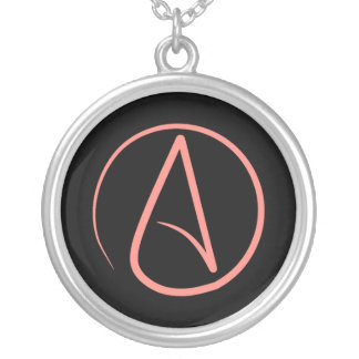 Atheist symbol: coral on black silver plated necklace