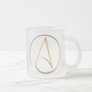 Atheist Symbol Frosted Glass Coffee Mug