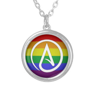 Atheist Symbol over Rainbow Silver Plated Necklace