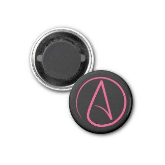 Atheist symbol: pink on black magnet