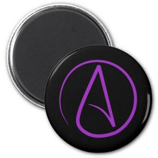 Atheist symbol: purple on black magnet