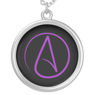Atheist symbol: purple on black silver plated necklace