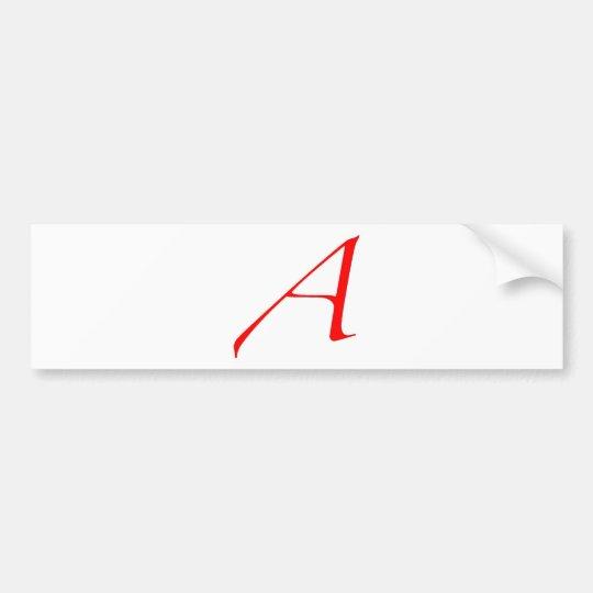 Atheist Symbol (Red A) Bumper Sticker