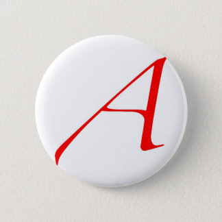 Atheist Symbol (Red A) Pinback Button