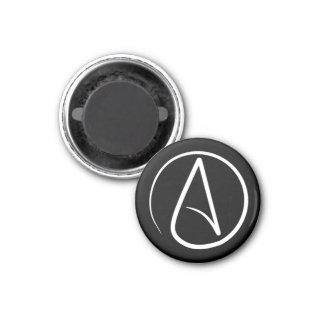 Atheist symbol: white on black magnet