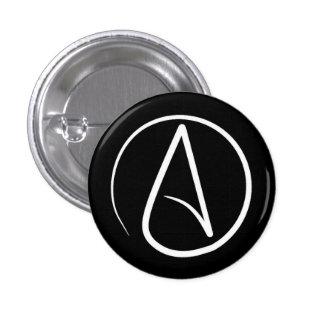 Atheist symbol: white on black pinback button