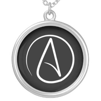 Atheist symbol: white on black silver plated necklace
