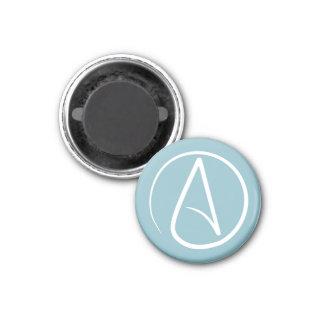 Atheist symbol: white on blue-grey magnet