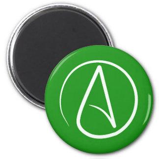 Atheist symbol: white on green magnet