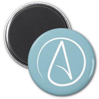 Atheist symbol: white on grey-blue magnet