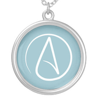 Atheist symbol: white on grey-blue silver plated necklace