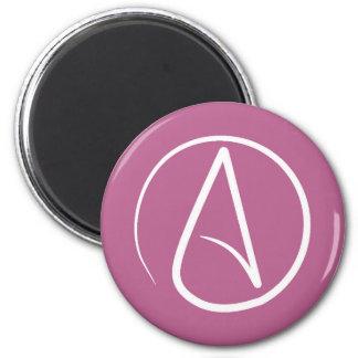 Atheist  symbol: white on mauve pink magnet