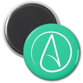 Atheist symbol: white on mint green magnet