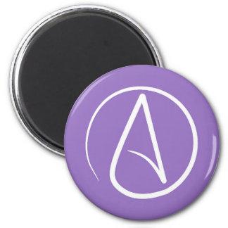 Atheist symbol: white on purple magnet
