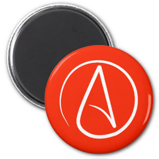 Atheist symbol: white on red magnet