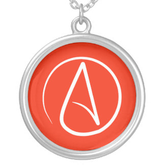 Atheist symbol: white on red silver plated necklace