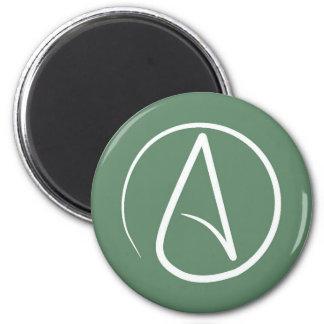 Atheist symbol: white on sage green magnet