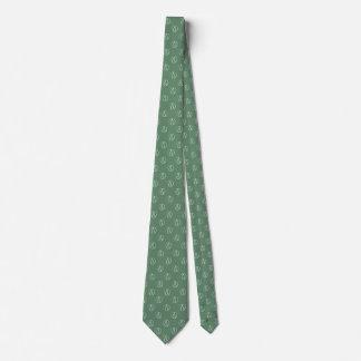Atheist symbol: white on sage green neck tie