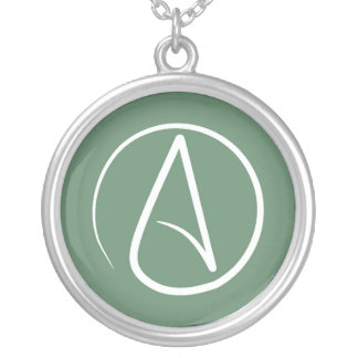Atheist symbol: white on sage green silver plated necklace