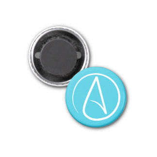 Atheist symbol: white on sky blue magnet