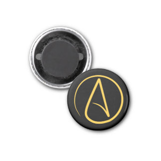 Atheist symbol: yellow on black magnet