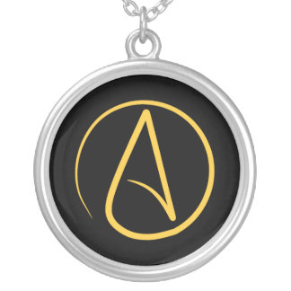 Atheist symbol: yellow on black silver plated necklace