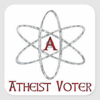 ATHEIST VOTER SQUARE STICKER