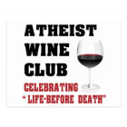 Atheist wine club postcard