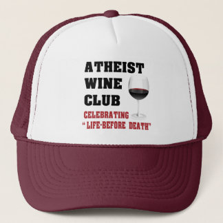 Atheist wine club trucker hat