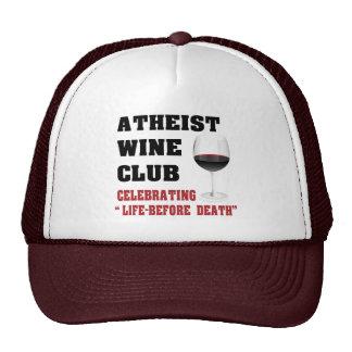 Atheist wine club trucker hat