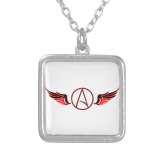 Atheist Wings Square Pendant Necklace