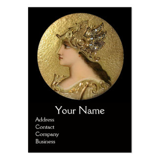 ATHENA AND FIGHTING GRYPHONS MONOGRAM ,Red Ruby Large Business Card