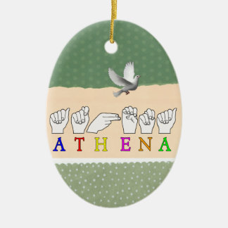 ATHENA ASL FINGERSPELLED NAME SIGN CERAMIC ORNAMENT