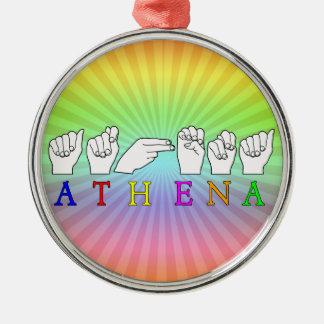 ATHENA ASL FINGERSPELLED NAME SIGN METAL ORNAMENT