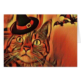 Athena Cat Goddess Halloween Card