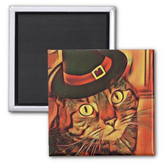 Athena Cat Goddess Halloween Hat Fridge Magnet