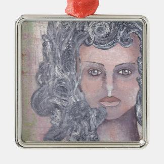 Athena el gris adorno navideño cuadrado de metal
