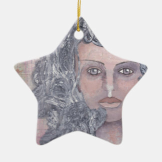Athena el gris adorno navideño de cerámica en forma de estrella