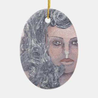 Athena el gris adorno navideño ovalado de cerámica