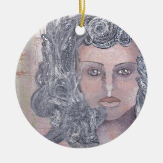 Athena el gris adorno navideño redondo de cerámica